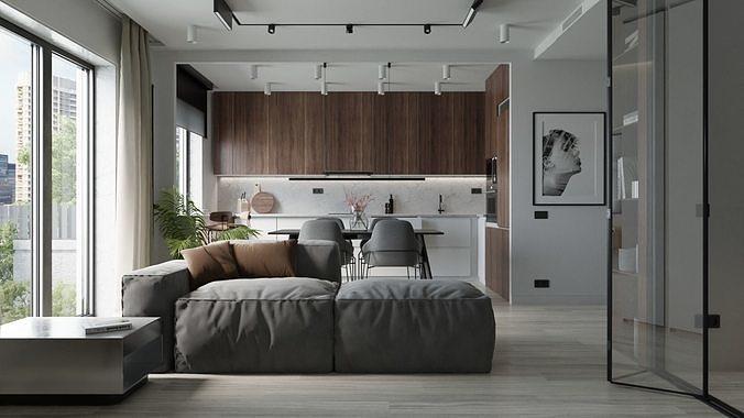 Modern apartment interior 50 sqm 0004