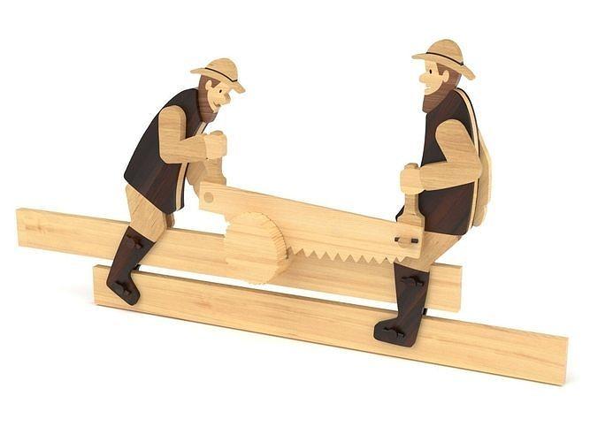 Wooden toy men sawing log 02
