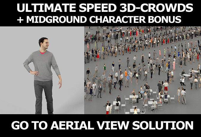 3d crowds and Jest Midground Casual Man Walking Explaining