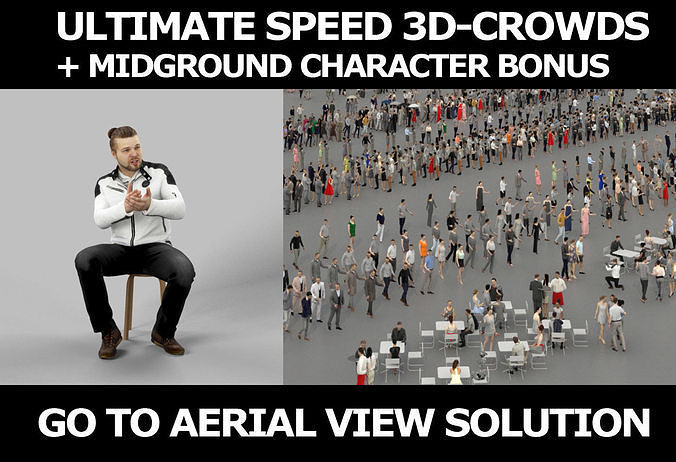 3d crowds Keen A Midground Casual Man Sitting Jacket Explaining