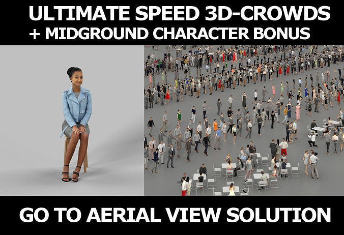 3d crowds and May Casual Leather Jacket African sitting Woman