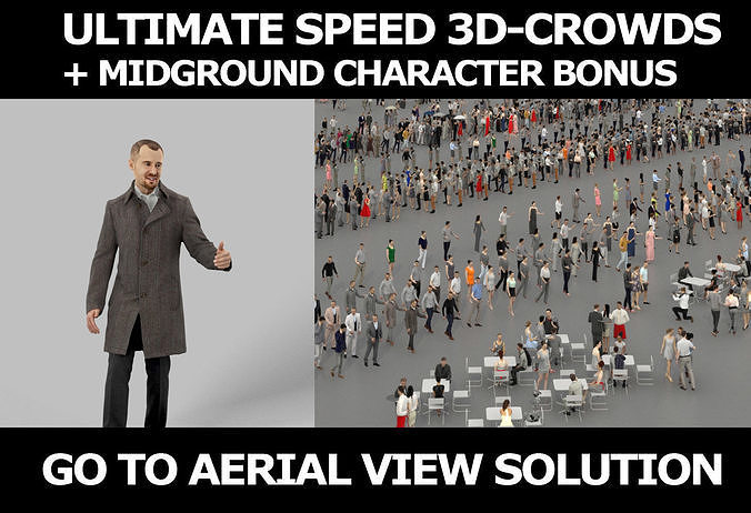3d crowds and Master A midground winter business man gesturing