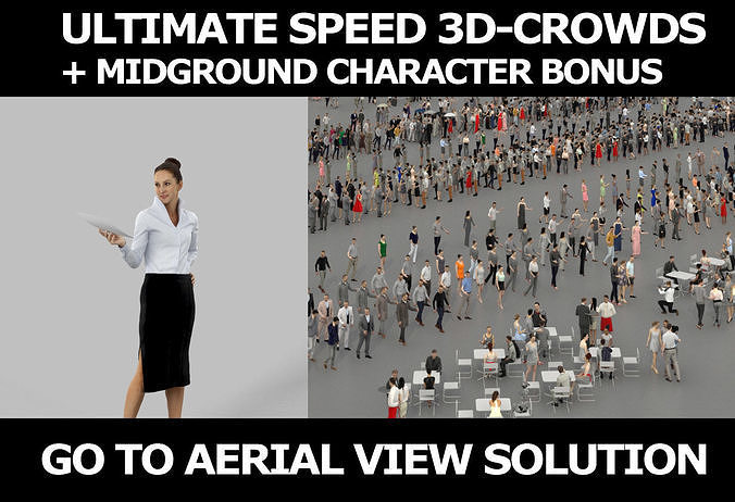 3d crowds and Mirage Midground Business Woman Handing a Document