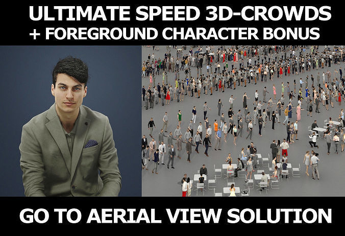 3d crowds and Prime Foreground Smart Casual Sitting Man