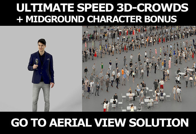 3d crowds and Prime with champagne midground Event Casual Man