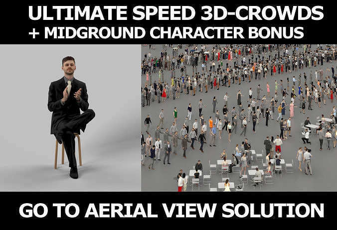 3d crowds and Posture clapping a midground Business Man Sitting