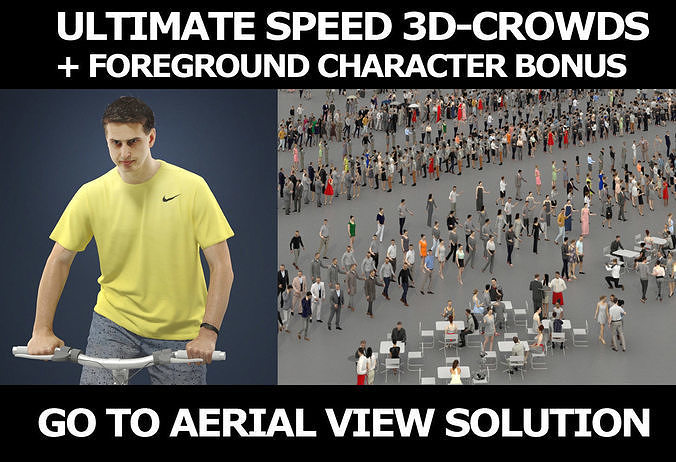 3d crowds and Romance Cyclist A foreground Casual Man Bike