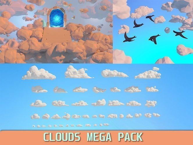 Low poly Clouds Mega Pack