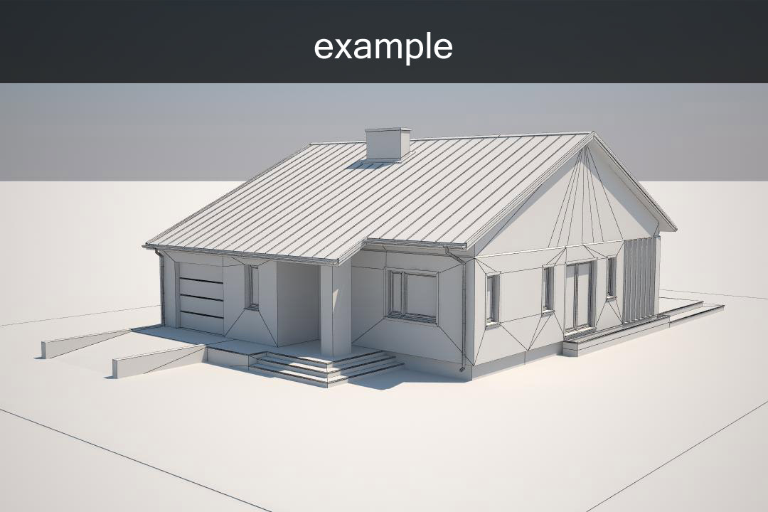 Example house model free 3d model max obj 3ds fbx for Exterior 3d model
