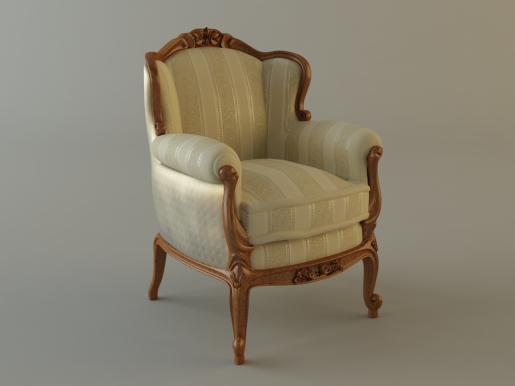 ... antique armchair 3d model max obj 3ds fbx mtl 3 ... - Antique Armchair Ornate 3D Model CGTrader