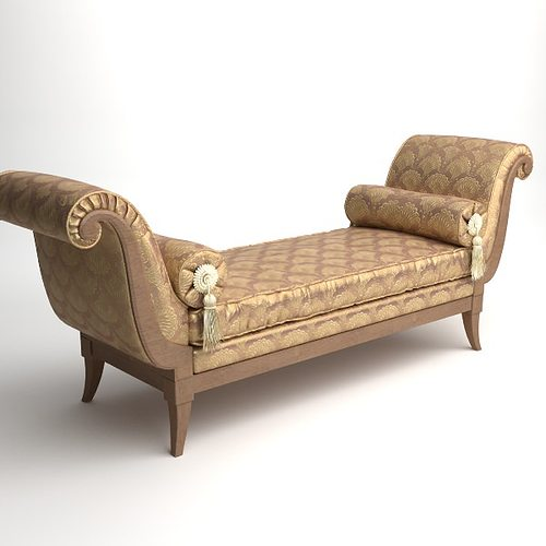 Classical bench with pillows 3d cgtrader for Divan furniture models