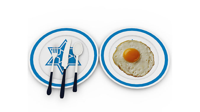Egg Omelet with plate and knife