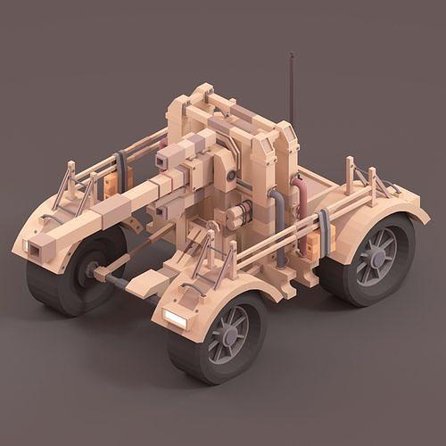 Low Poly German Tank 88MM Gun