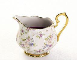 3d model detailed porcelain jug with flowery design