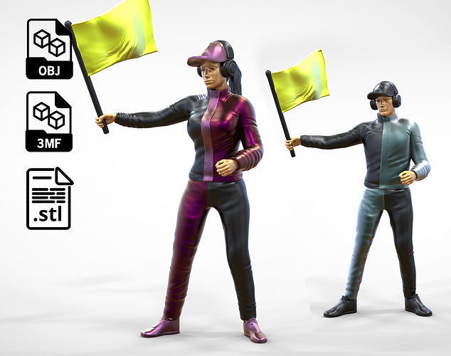 N3 Race Marshal with flag 3D man and woman