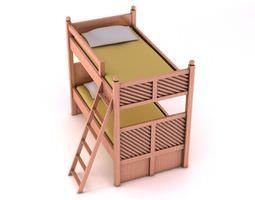 Pink Wooden Bunk Bed 3D model