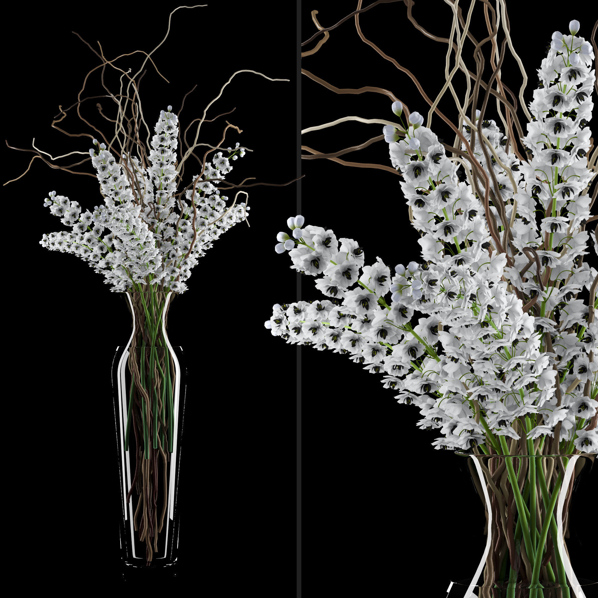 3d model white delphinium in tall vase with willow white delphinium in tall vase with willow branches 3d model max obj fbx mtl 1 mightylinksfo