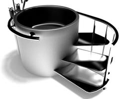 3D model Modern Metal Bathtub With Stairs