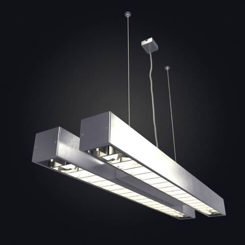 Hanging Tube Light 3D Model OBJ