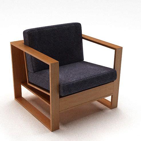 Bon Wooden Cushion Modern Chair Armrest 3d Model 1