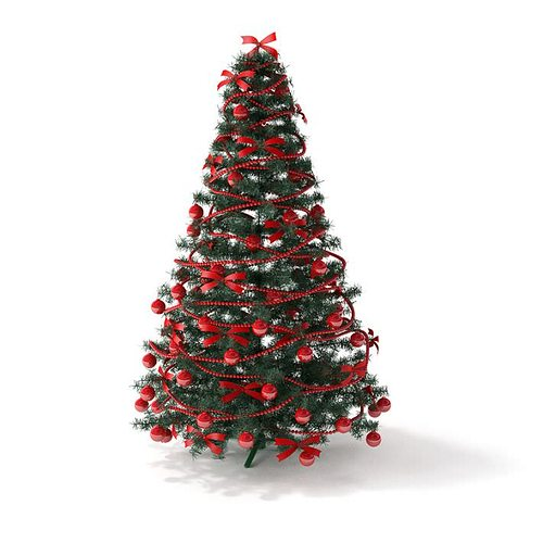 Model Of Christmas Tree: Decorated Christmas Tree 3D Model