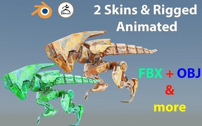 Futuristic Raptoid Dinosaur Rigged Animated