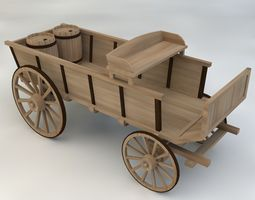3D Wagon Wooden Western