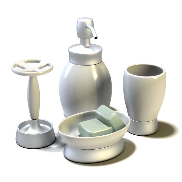 Bathroom accessories set 3d model for 3d bathroom accessories