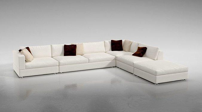 White L Shaped Sofa 3D model