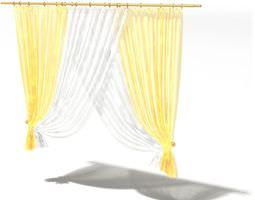 Retro Yellow Curtains 3D model