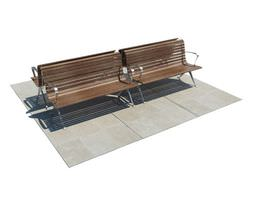 3d wooden outdoor benches with metallic legs