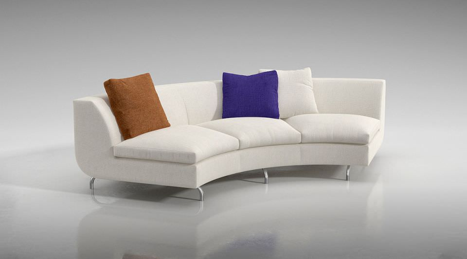 White Quarter Circle Couch With Pillows 3d Model Obj 1