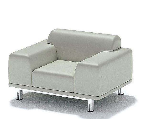 White Luxury Single Seat Sofa 3D Model