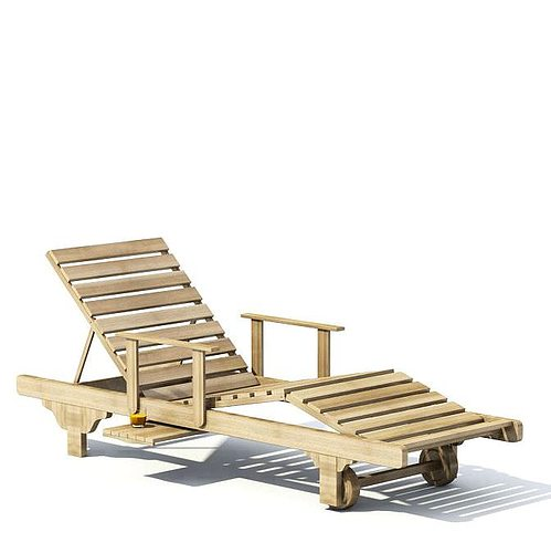 Oak Outdoor Lounge Chair With Wheels And Armrests 3D Model