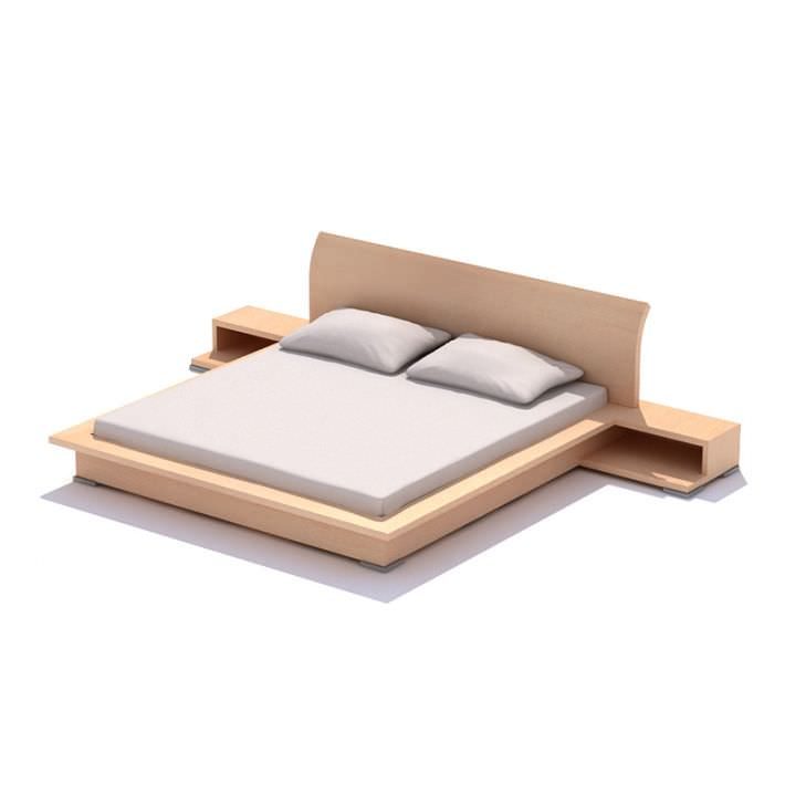 Double coated bed with two pillows 3d model for Cama 3d max