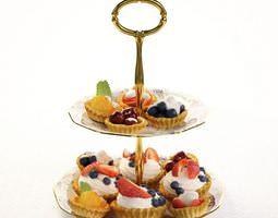 3d model dish   antique porcelain dish with little fruit cupcakes
