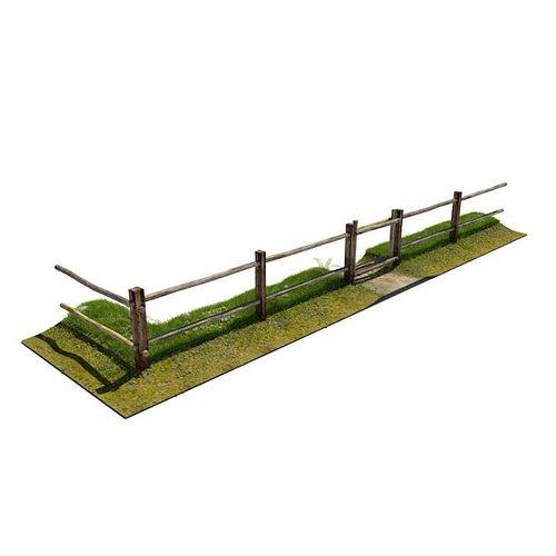 fence   wooden rural 3d model obj mtl 1