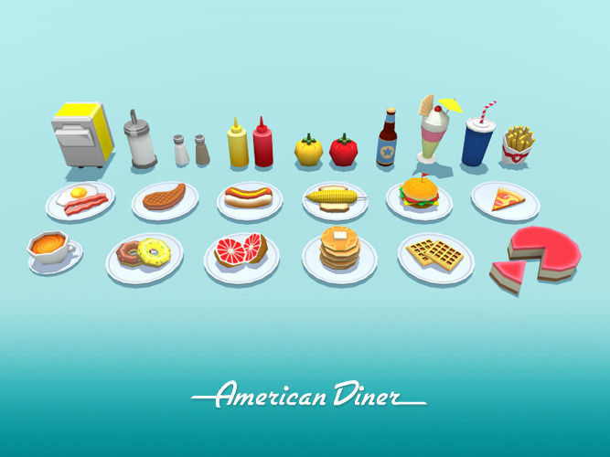American diner food 3d model cgtrader for Food bar 3d model