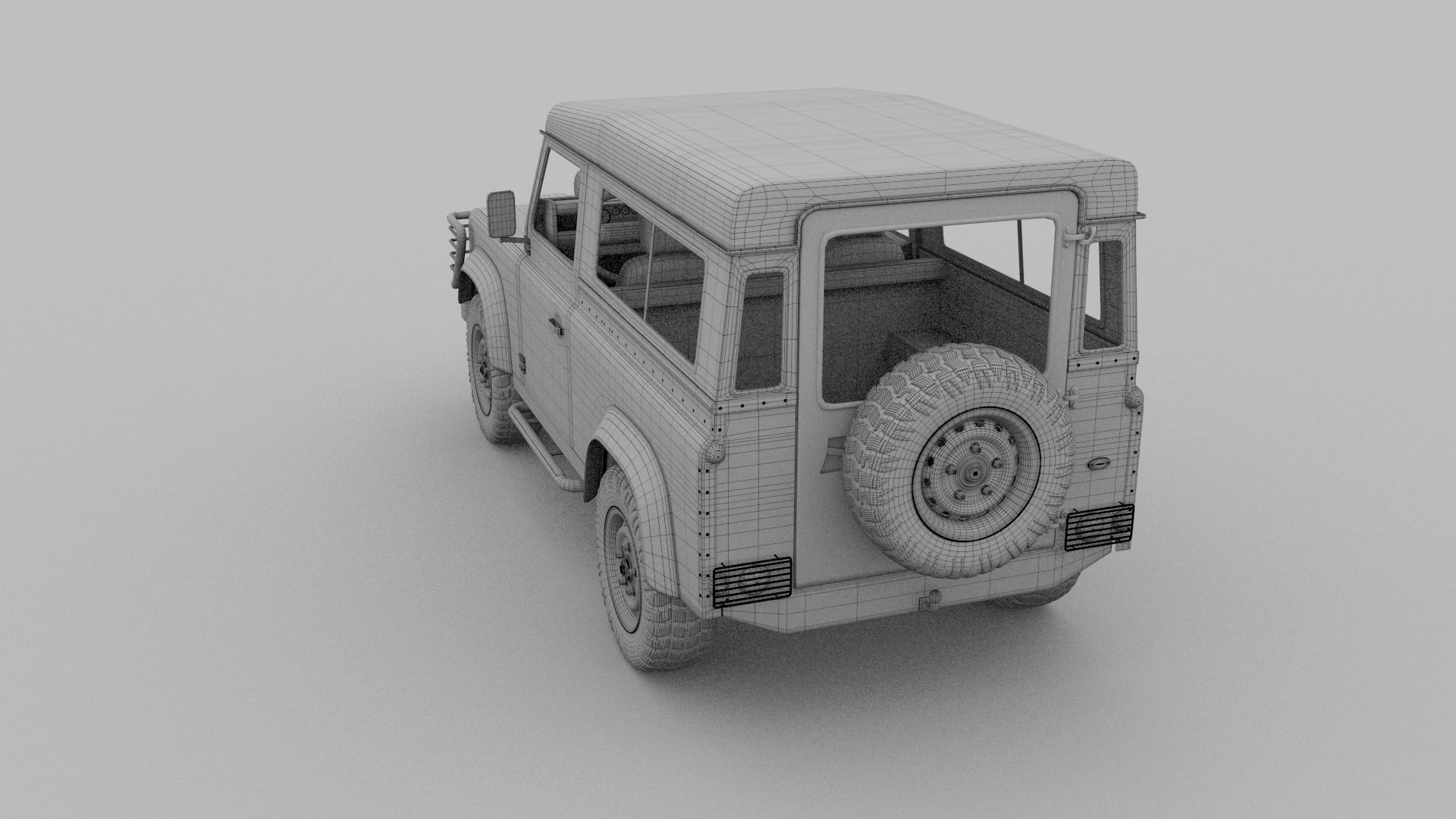 Land rover defender 90 station wagon w interior hdri 3d for Interior land rover defender