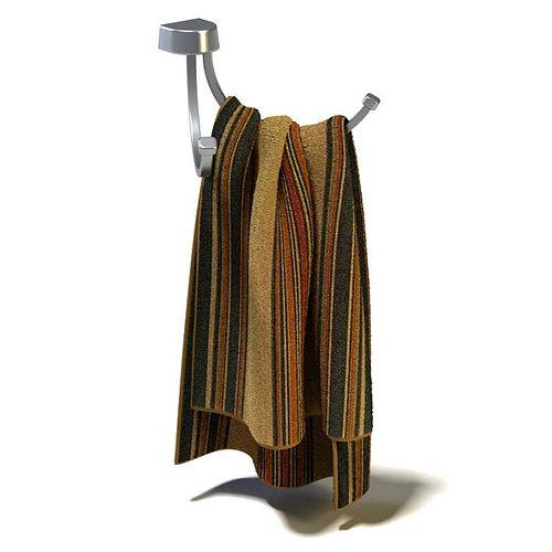 bathroom towel with towel holder 3d model  1