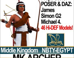 3D Ancient Egypt MK Archer Props Poser Daz