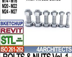 bolts nuts vol 1 iso 261 262 stl printable vol 1 iso 261 262 3d model obj 3ds c4d dxf stl vue