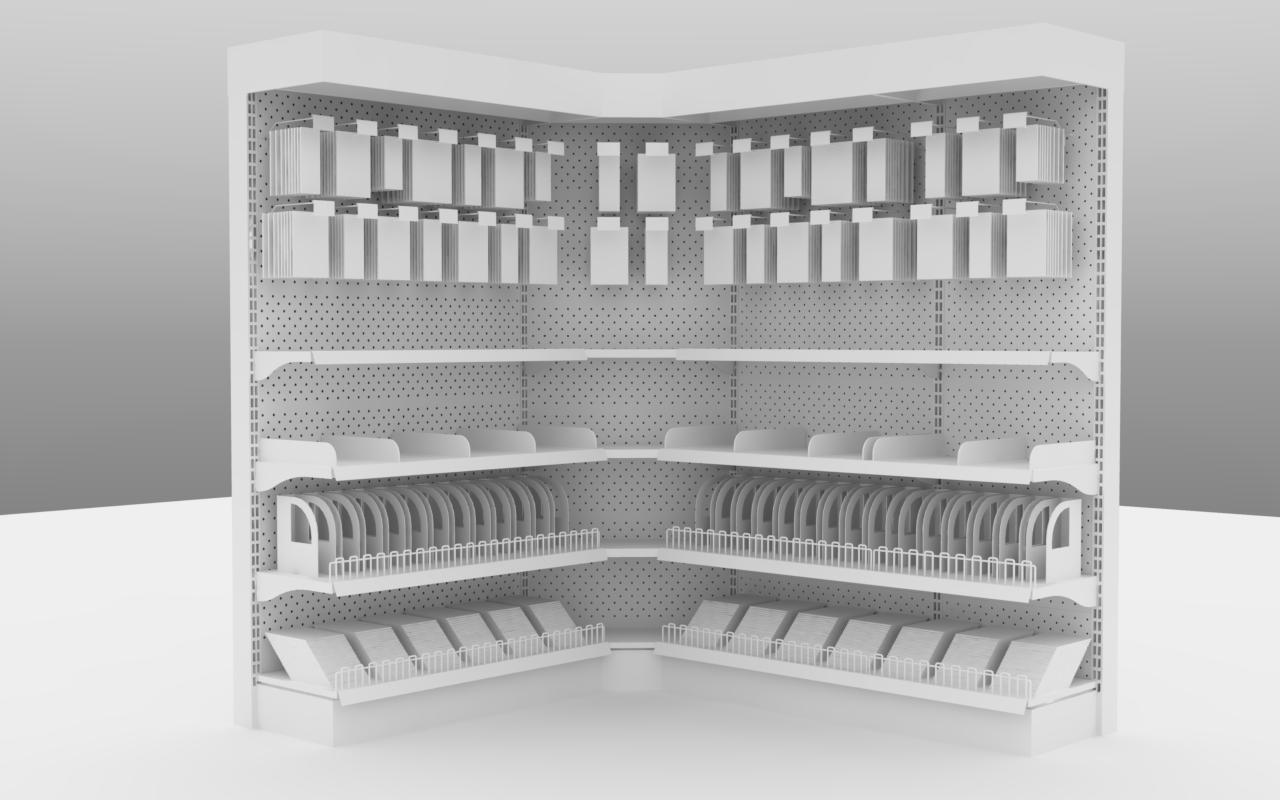 ... supermarket shelves 2200x400 with anchors 3d model max obj lwo lw lws  dae lxo lxl 2 ...