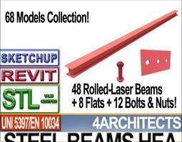 steel wide flange beams hea collection revit stl printable