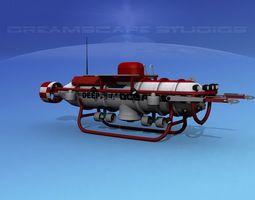 3d model deep ocean submersible rigged