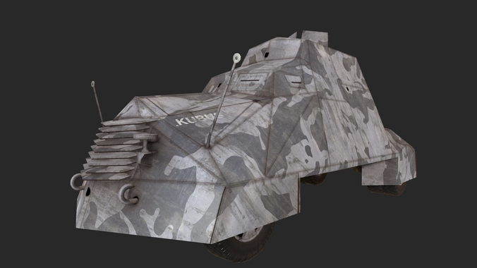 kubus armoured vehicle warsaw 1944 3d model low-poly obj 1