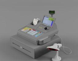 3d model sam4s samsung sps-530 cash register with barcode reader light  2