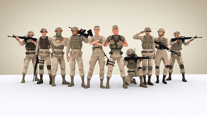 Military Squad Low Poly Art Rigged Pack