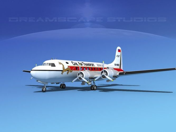douglas dc-4 civil air transport china 3 3d model max 3ds lwo lw lws dxf dae dwg 1