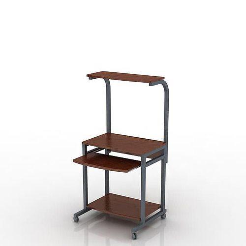 brown wood and grey metal comput 3d model obj